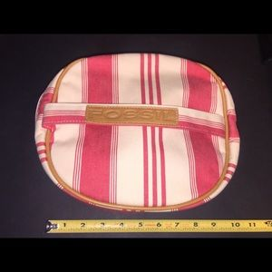 Fossil's Canvas Red & Cream Striped Makeup Bag